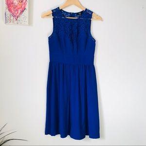 Cobalt blue lace detail dress - size XS